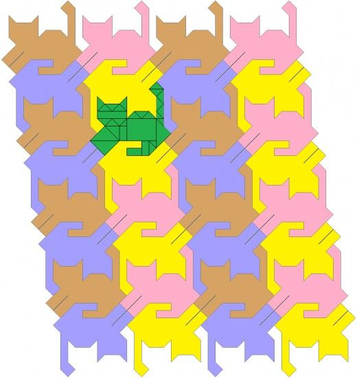 Fancy tessellating cat quilt pattern, tails up. | Cats | Pinterest ... : tessellation cat quilt pattern - Adamdwight.com