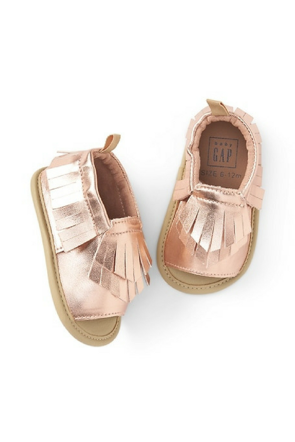 face3b21104e Metallic Moccasin Sandals. Love the rose gold color for summer!  ad   babyshoes  moccasins  rosegold