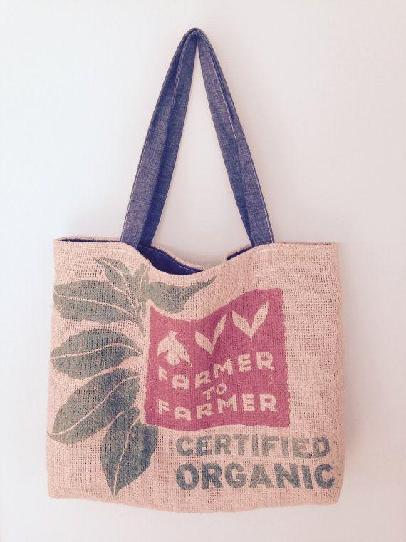 Coffee Sack Tote Bag by RubbishRenewedMN on Etsy