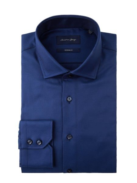 CHRISTIAN-BERG-MEN Modern Fit Business-Hemd mit New Kent Kragen in Blau dabc3b07e3