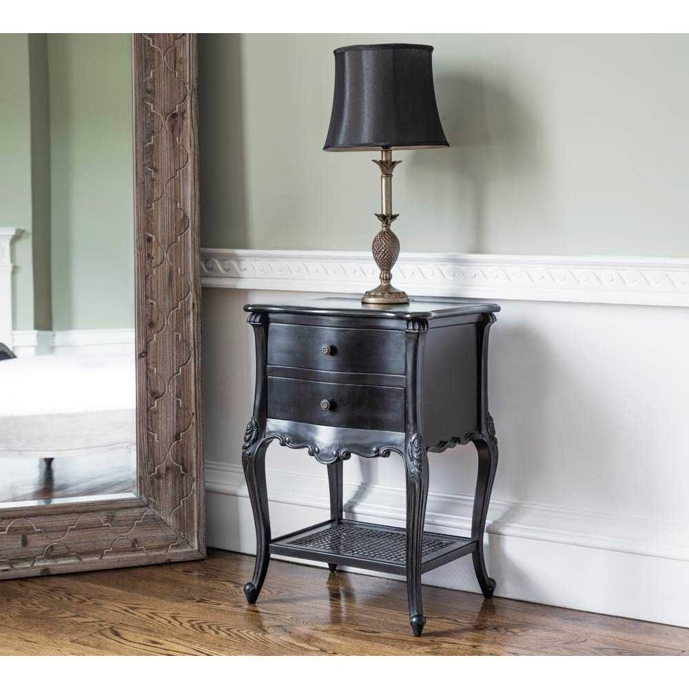 Best Sassy Boo 2 Drawer Black Bedside Table Black French 400 x 300