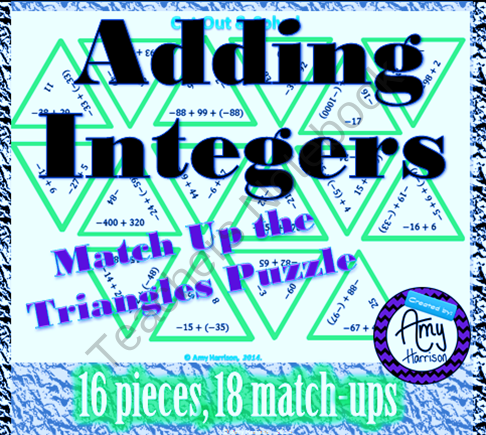 Adding Integers Triangle Puzzle #3 from Amy-Harrison on ...