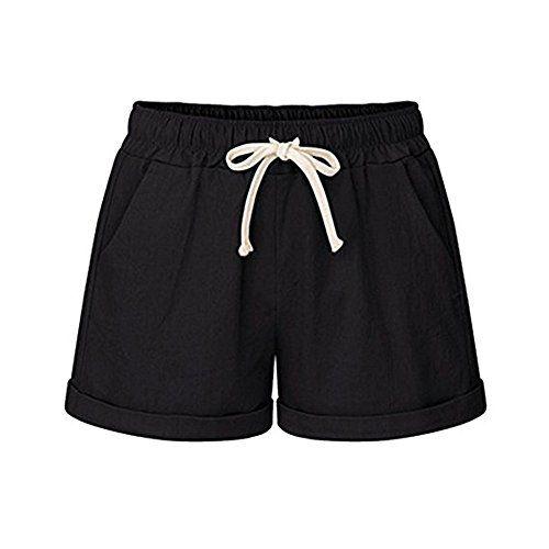 d39a1df70e HeFashion Women's Drawstring Elastic Waist Casual Comfy Cotton Linen Beach  Shorts