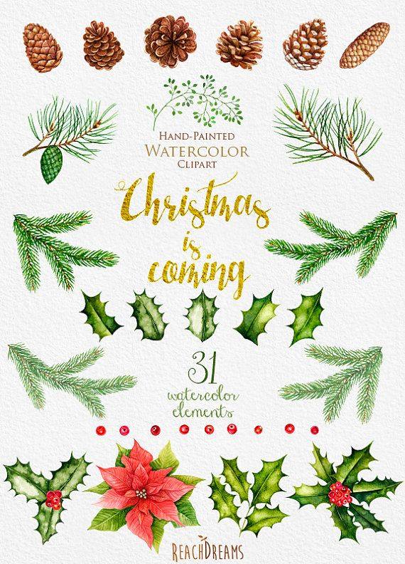 Christmas Watercolor Clipart, New Year decoration, Holiday hand ...