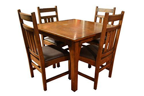 Crafters U0026 Weavers Mission Oak Dining Table With 4 Oak Chairs With  Upholstered Seat