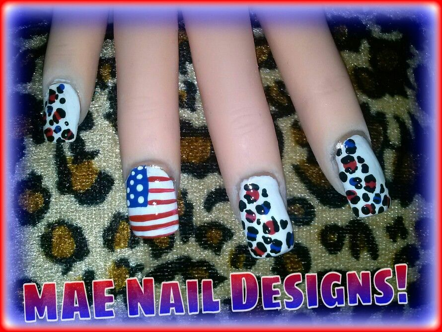 ★First 4th of July Design is here: Patriotic Leopard Print  Flag★ Check out the tutorial at: www.youtube.com/user/maenaildesigns ↖(^▽^)↗