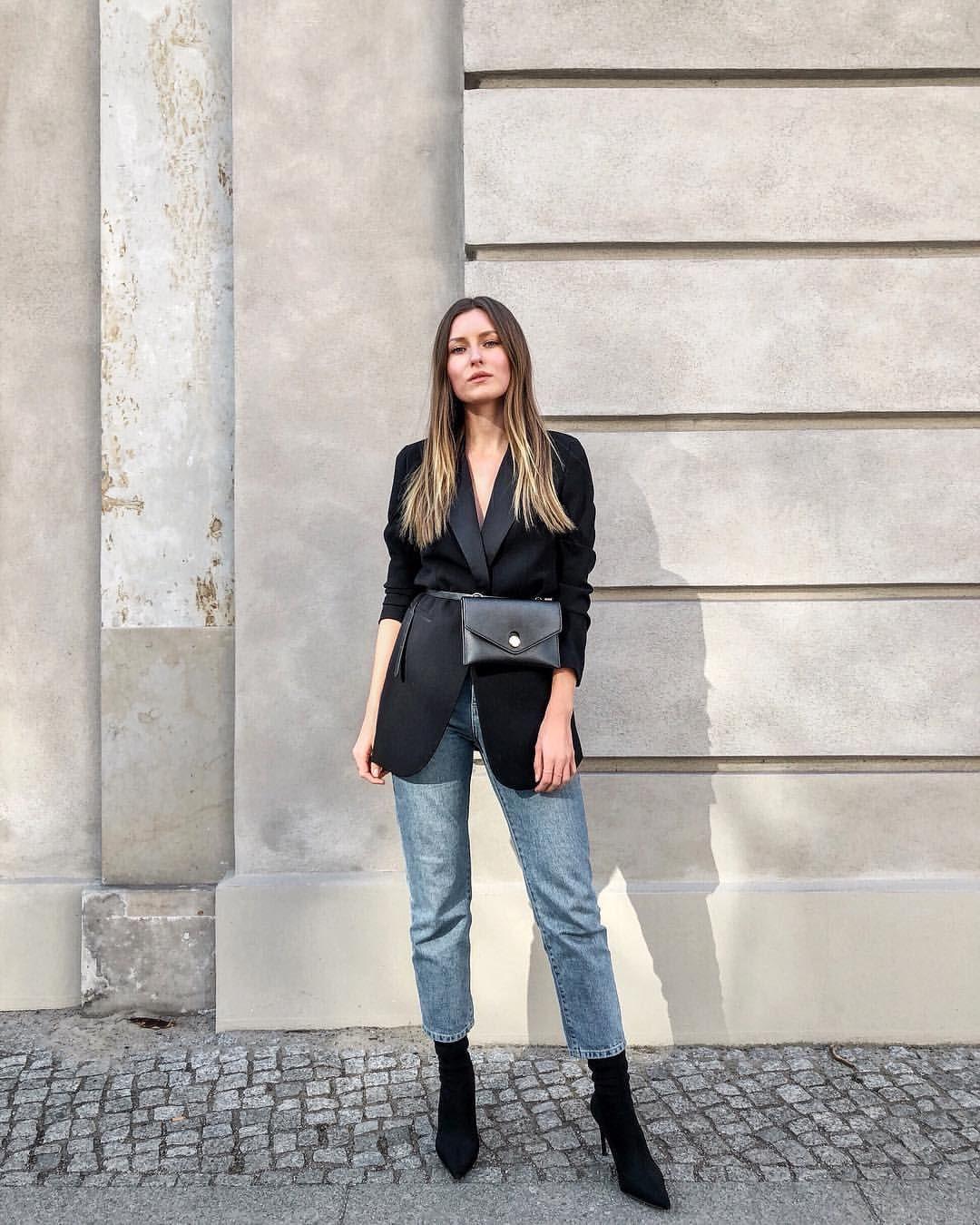 Belt bag, black blazer, mom jeans, sock boots, outfit, street style, Livia  Auer, Paris Fashion Week, Milan Fashion Week