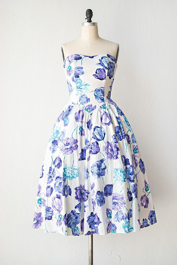 1980s Floral Blue And Purple Party Dress Myfairlady