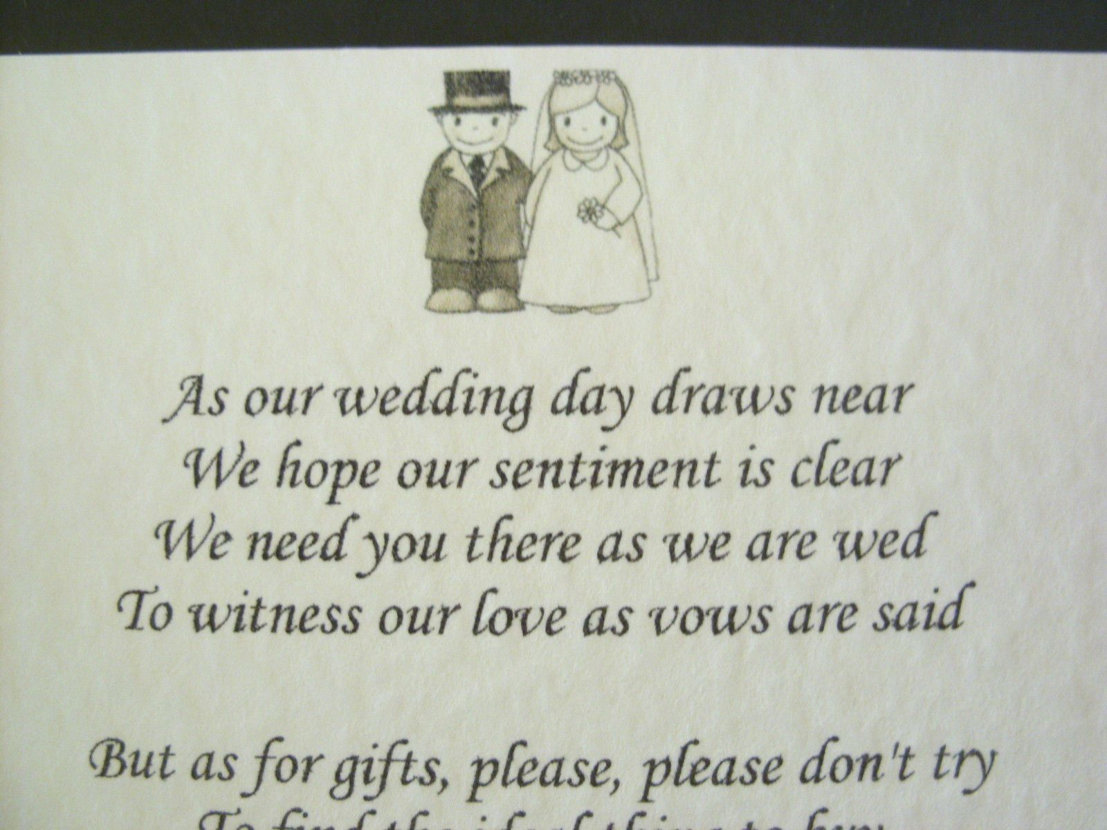 Details About 20 Wedding Poems Asking For Money Gifts Not