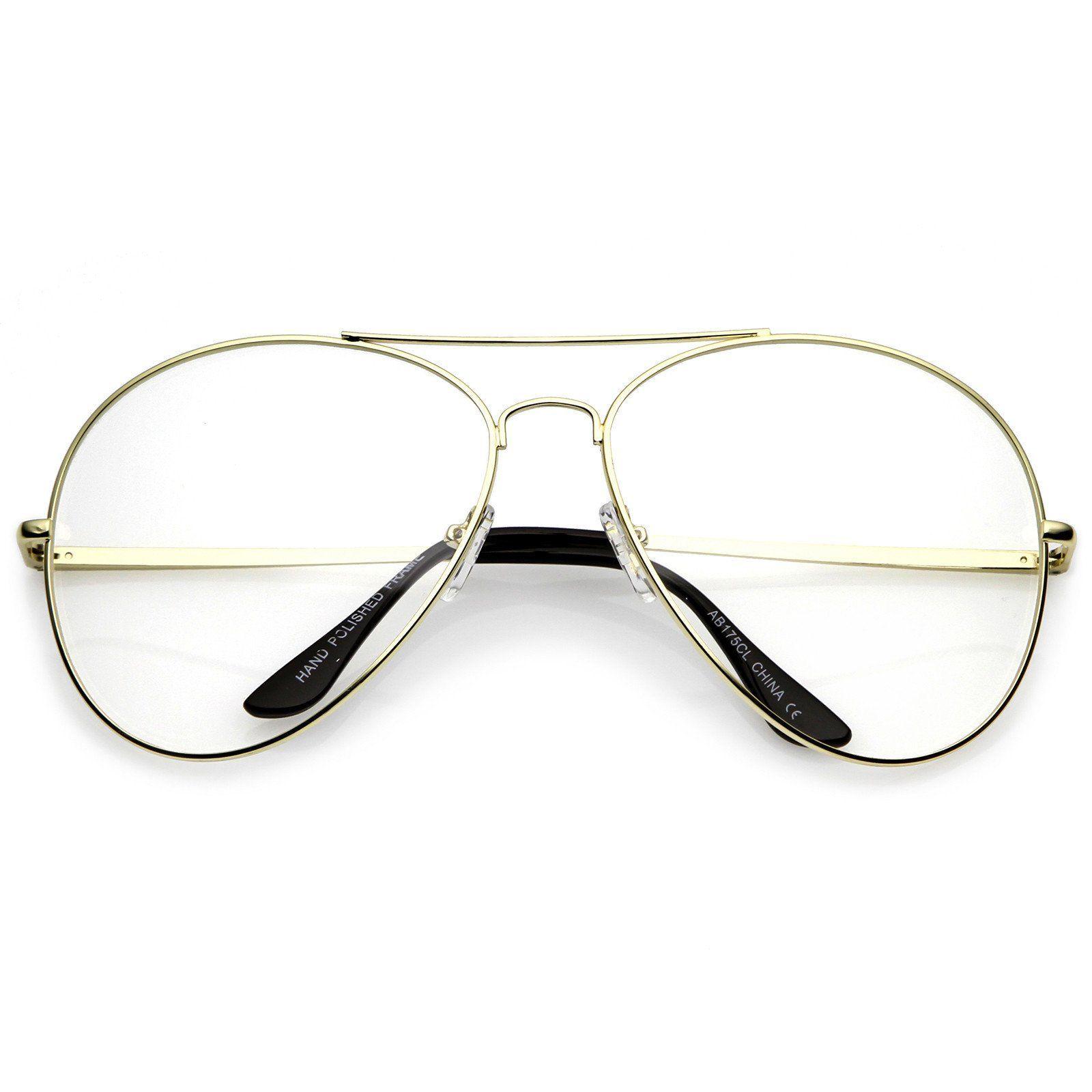 635fd1031b10 Classic Oversize Aviator Glasses With Metal Double Crossbar Teardrop Clear  Lens 63mm #clear #frame #sunglassla #womens #oversized #purple #bold # sunglass ...