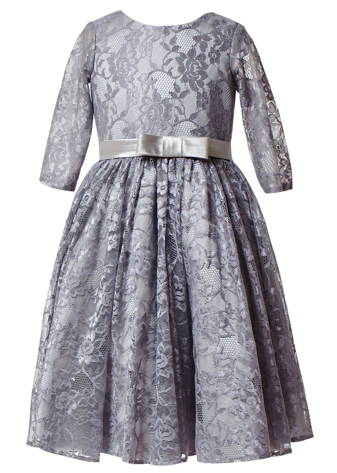 Princhar Girl S Grey Long Sleeves Lace Dresses Flower Girl Dress Formal Party Toddler Dresses Us 5t Fabr Long Sleeve Lace Dress Toddler Dress Long Sleeve Lace [ 1580 x 1129 Pixel ]