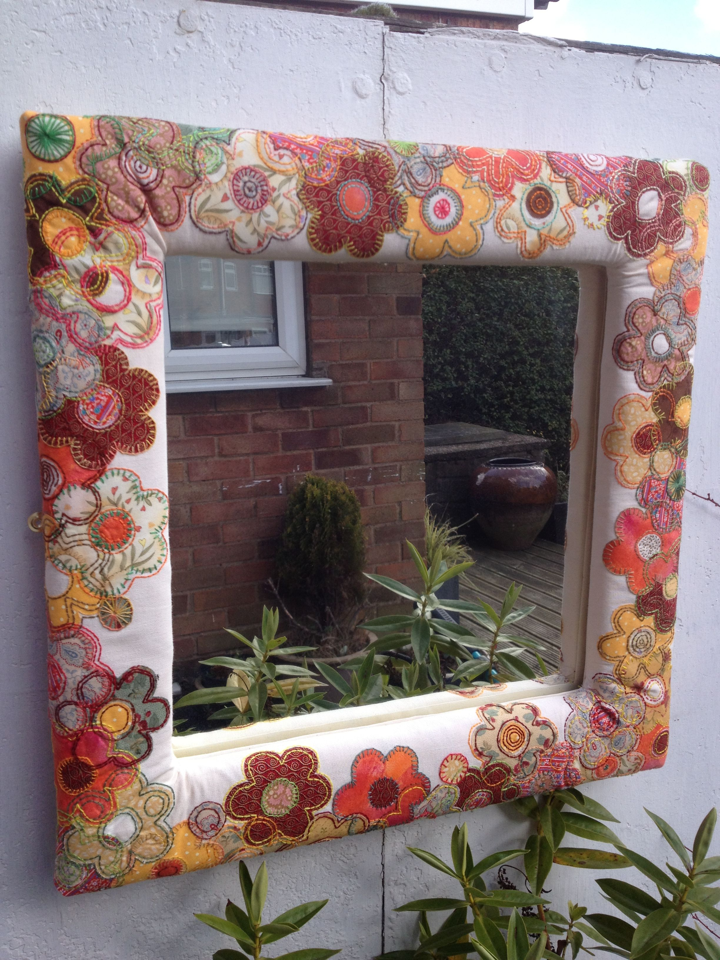 Hand appliqued and embroidered mirror frame. My first creation! Made ...