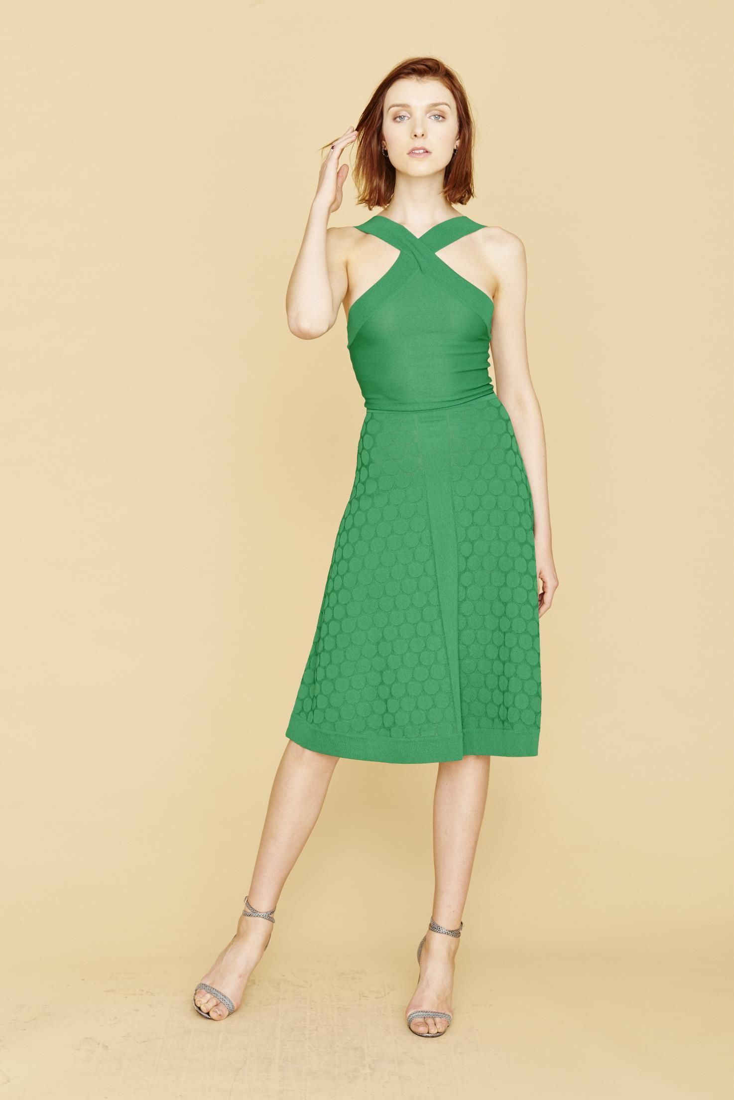 efb46c610a275 Clarisse - Bold Jade Green Polka Dot Dress with Cross Strap Top ...