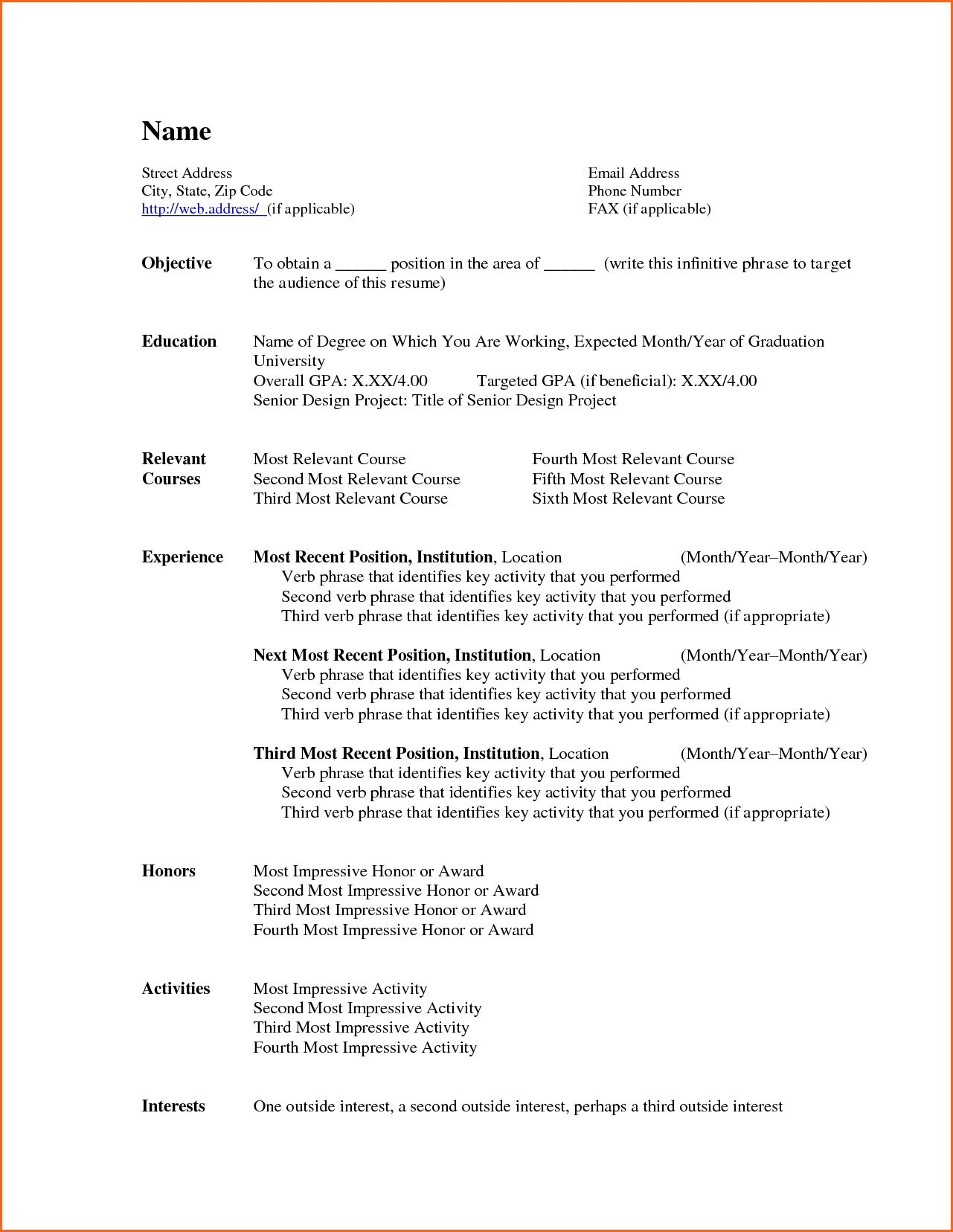 Free Resume Templates Download Format Word With For Google Bold