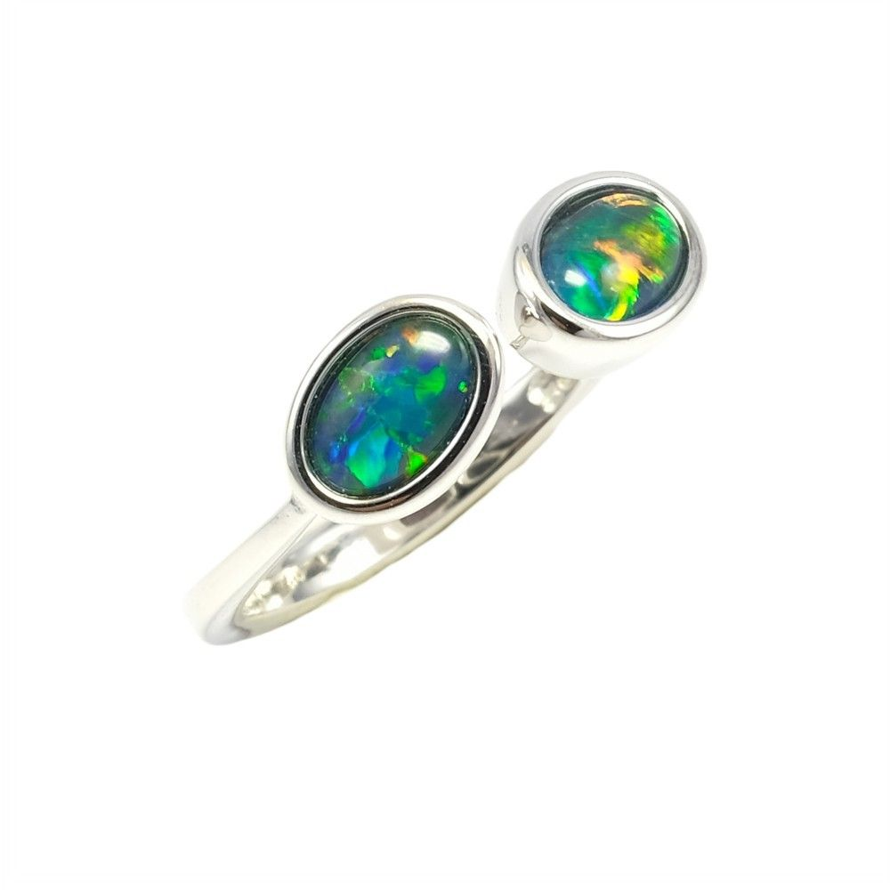 This On Trend Modern Double Black Opal Ring Has Beautiful Bright Blue Green Along With Yellow In 2020 Black Opal Ring Australian Opal Ring Sterling Silver Opal Ring