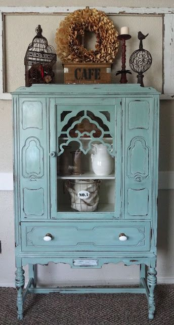 Refinished Antique Hutch In Duck Egg Blue With A Nod To The Movie Pride And  Prejudice.