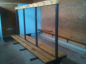 Vintage bench seat with hooks old gym change room becnh seats ebay