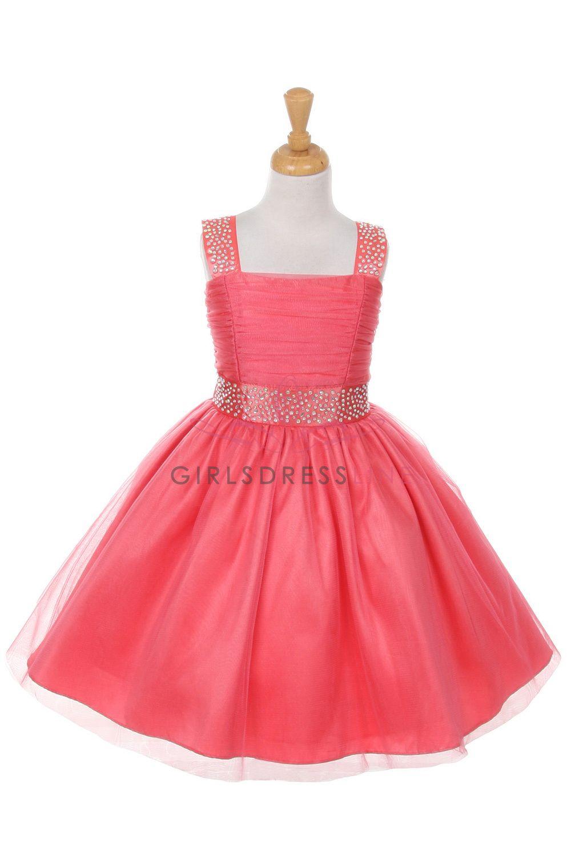 386f4cd7252b Coral Bling Bling Shiny Studded with Rhinestone Tulle Flower Girl Dress  B1195-CR B1195-CR $52.95 on www.GirlsDressLine.Com