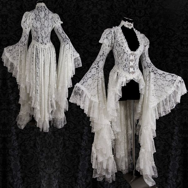 Sweet Victorian Lace Shawl Women Romantic Fantasy Cape Tops Sexy V Neck See Through Lace Irregular Hem Dresses Steampunk Angelic Shrug Long Flare Sleeve Crop Top #victorian