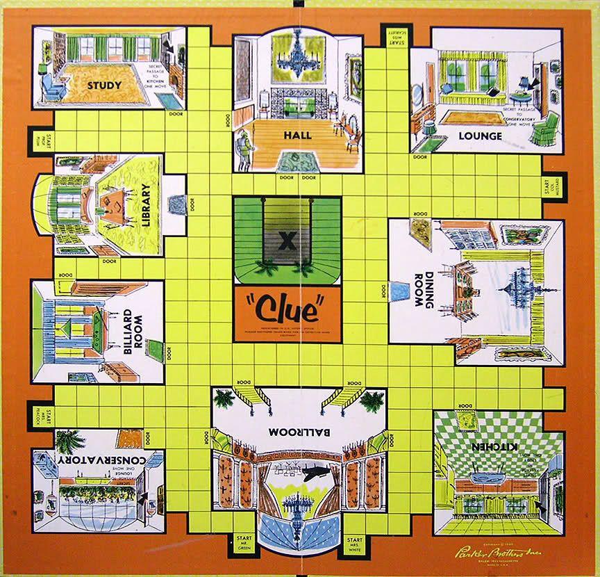 Original Clue Board Game Rooms