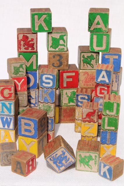 vintage wood alphabet blocks lot primitive worn old children s
