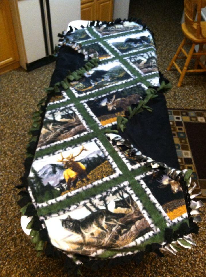 Animal print tie blanket