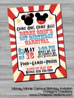 Disney Mickey Minnie Carnival Circus Mouse Clubhouse Birthday Invitation Invite Personalized Custom Etsy ChrispixsCreations