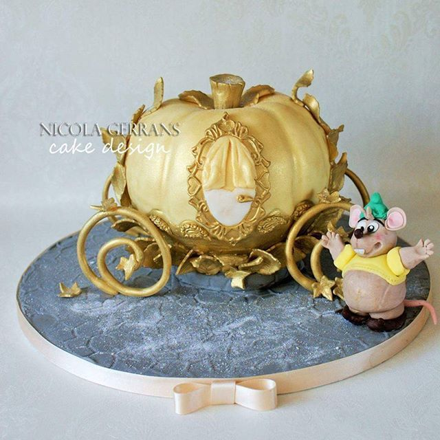 Gold Cinderella carriage birthday cake with Gus figure gold