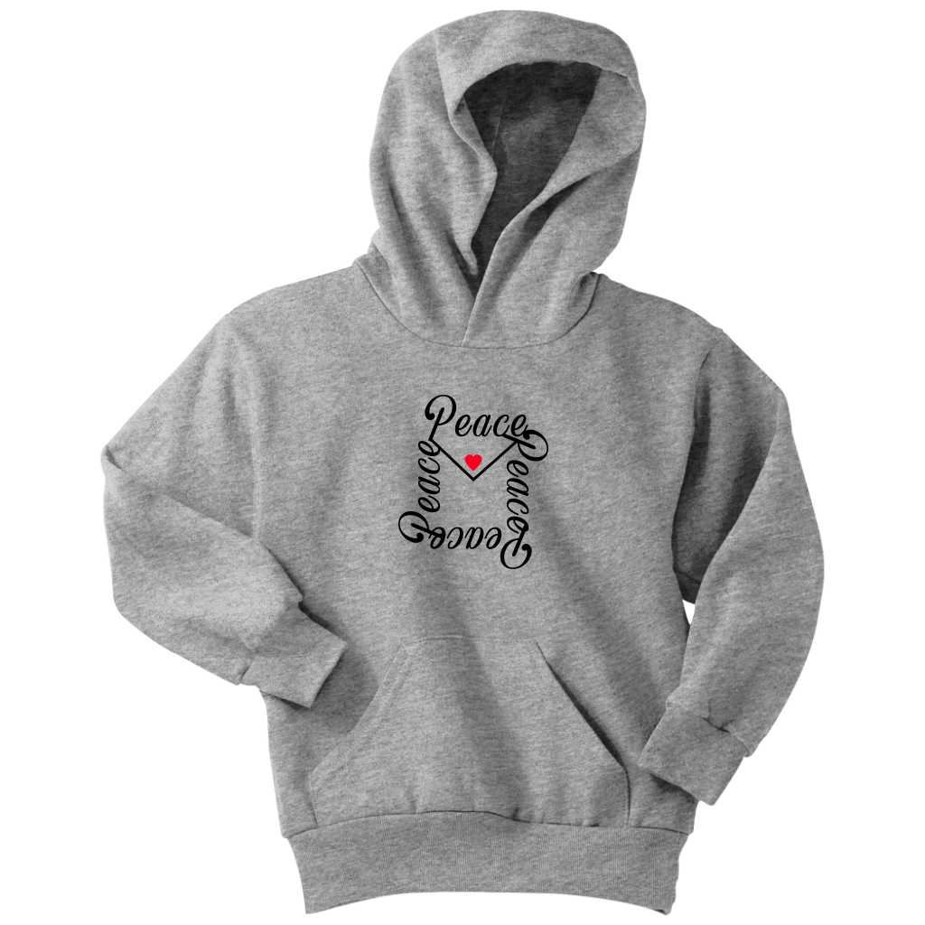 Send a message of love and peace whether it's by a letter, email, text, or spoken word/action. Spread the message by wearing this cool hoodie.Cozy sweats in our core weight.7.8-ounce, 50/50 cotton/poly fleeceAir jet yarn for a soft, pill-resistant finish