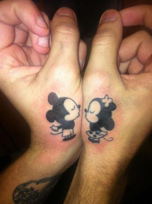 Kissing Mickey And Minnie Matching Couple Tattoo Tattoos Couple