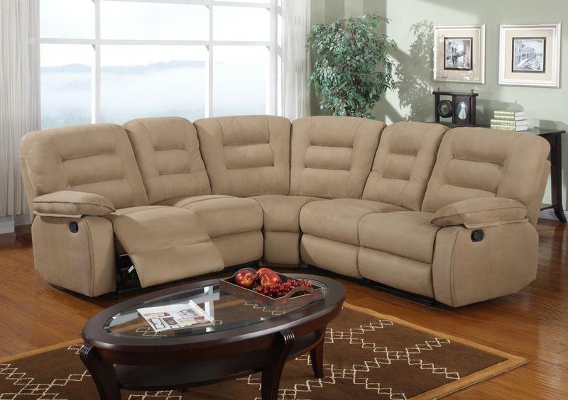 Modern Mocha Microfiber Reclining Sectional Sofa Corner Couch