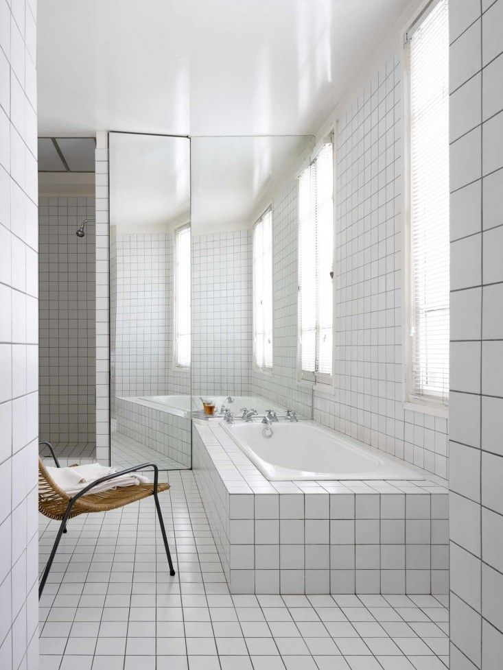 White Square Tile Bathroom a minimalist parisian loft | white tiles, white tiles black grout