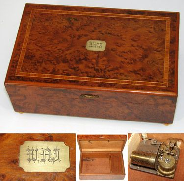 Antique French Burl Marquetry Inlay Jewelry Box Music Box Music