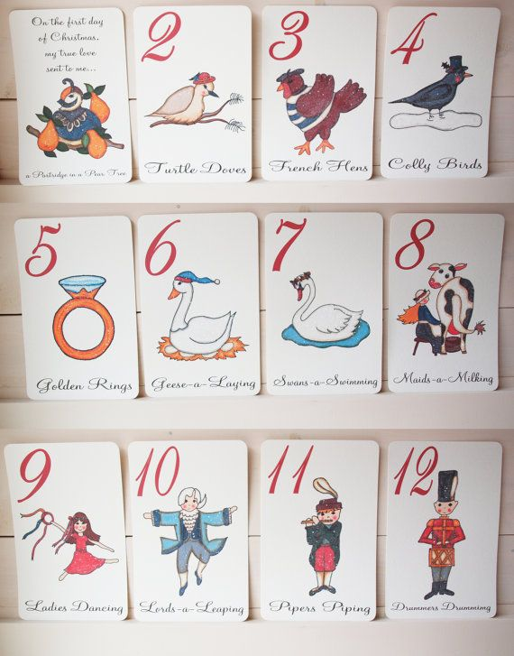 Awesome 12 Days Of Christmas Craft Ideas Part - 11: 12 Days Of Christmas Flashcards, Hand Drawn And Glittered Large Cards