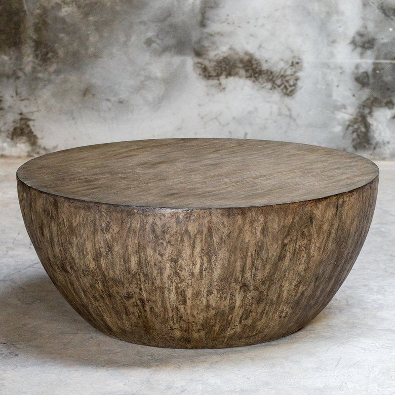 wood drum coffee table with storage