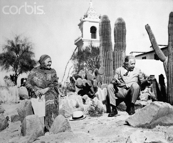 Albert Einstein and his wife, Elsa, are pictured on the grounds of Palm Springs' El Mirador Hotel in February, 1933.