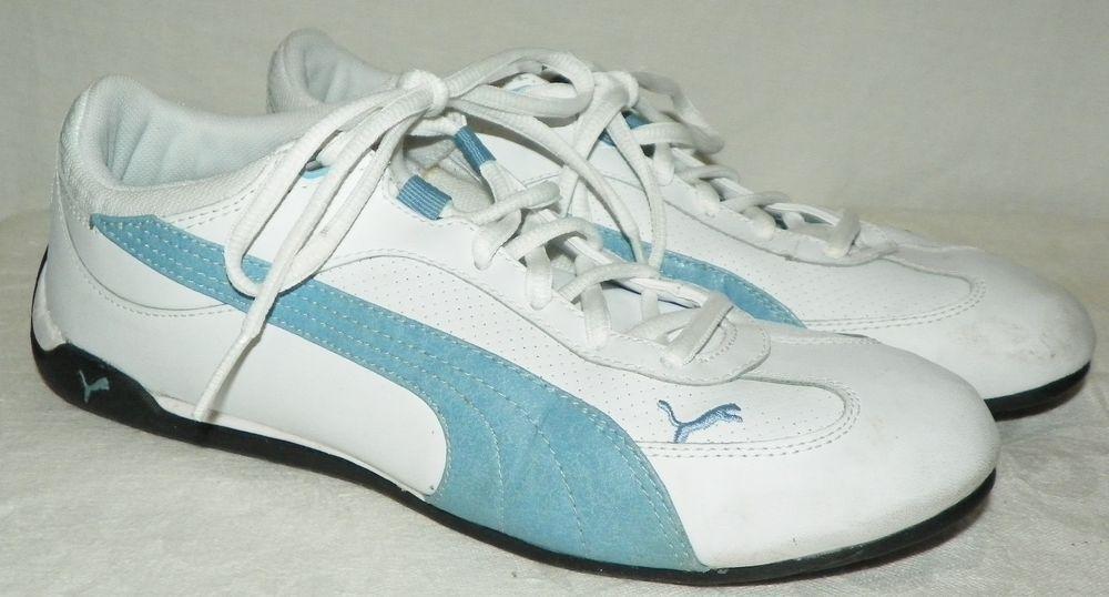 ecea60345800 Puma Eco Ortholite Blue and White Leather Tennis Shoes Size 10 304010