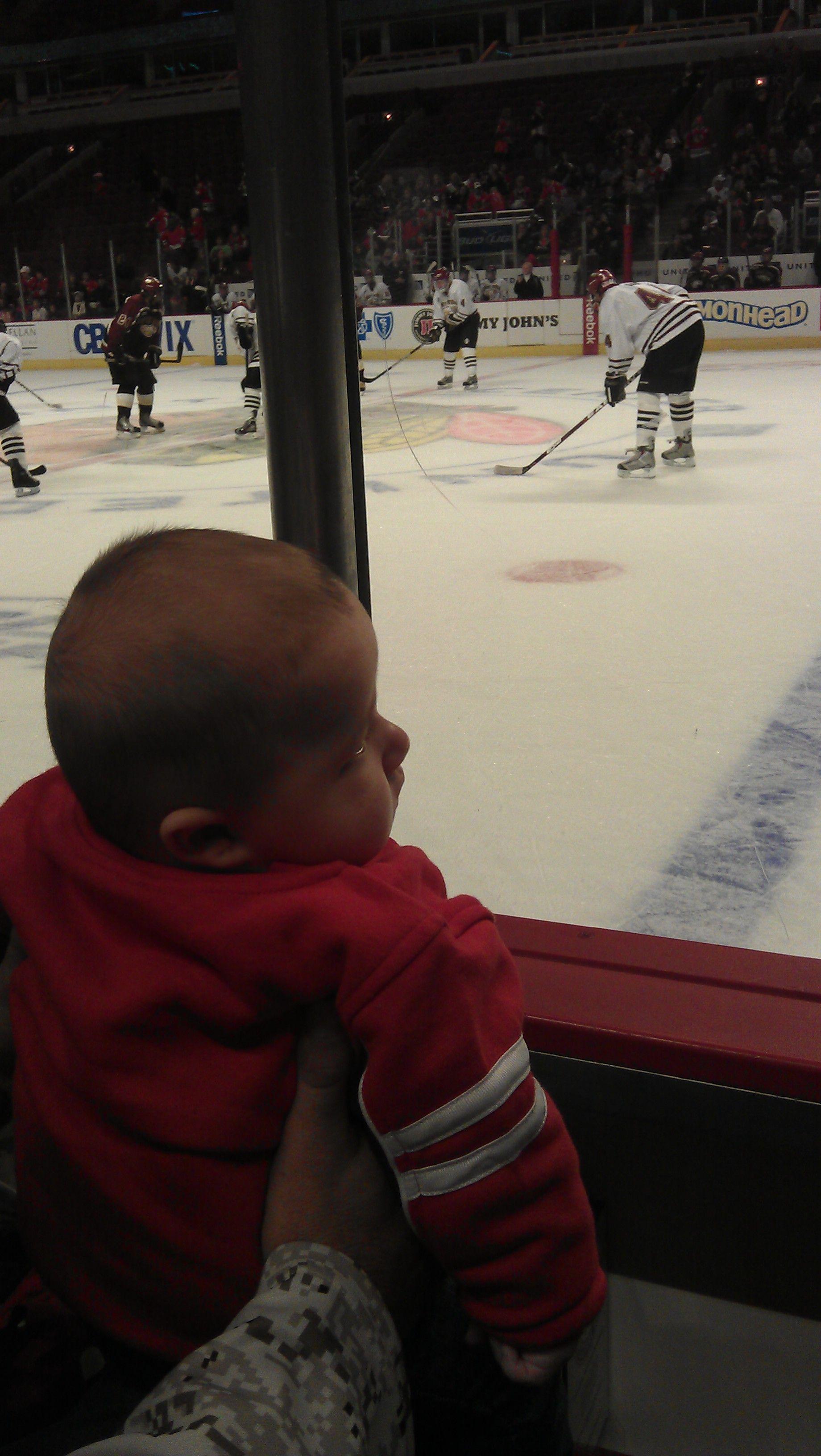 My adorable nephew enjoying the 2011 Training camp  #Blackhawks