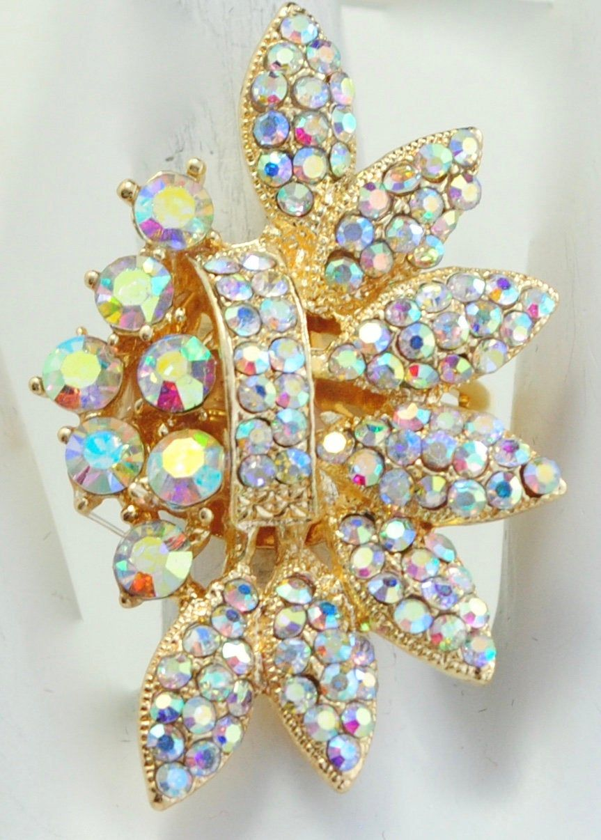 Glam Gold Cocktail Ring/Iridescent Rhinestones/Wedding