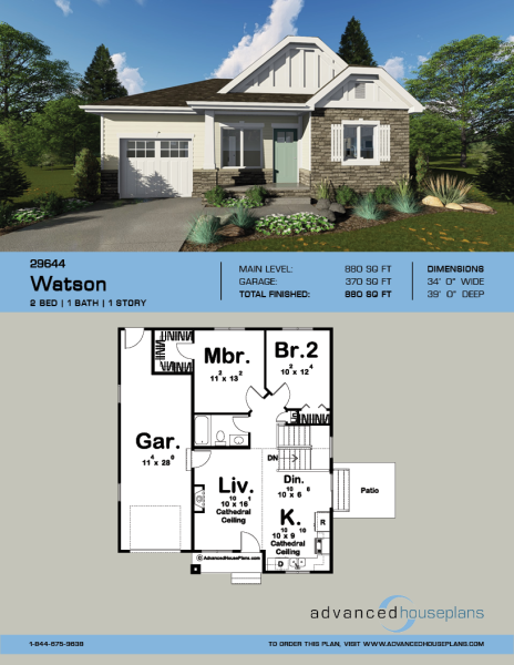 1 Story Cottage Style House Plan Watson Cottage Style House Plans Cottage Style House Plans