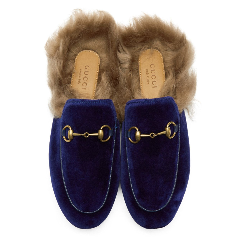 gucci princetown blue velvet