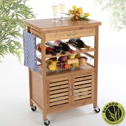Torrex 39459 Küchenwagen - Servierwagen - Küchentrolley aus Bambus - küchenwagen mit schubladen