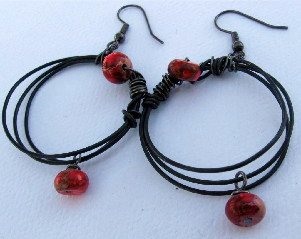 Pink and Red on Steel Earrings $25