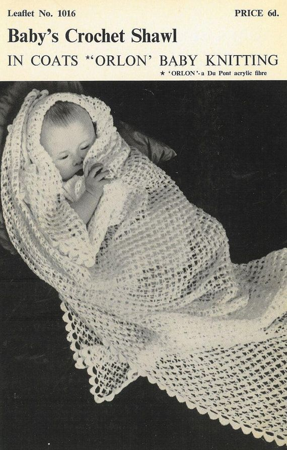 Coats 1016 baby shawl vintage crochet pattern PDF instant download ...