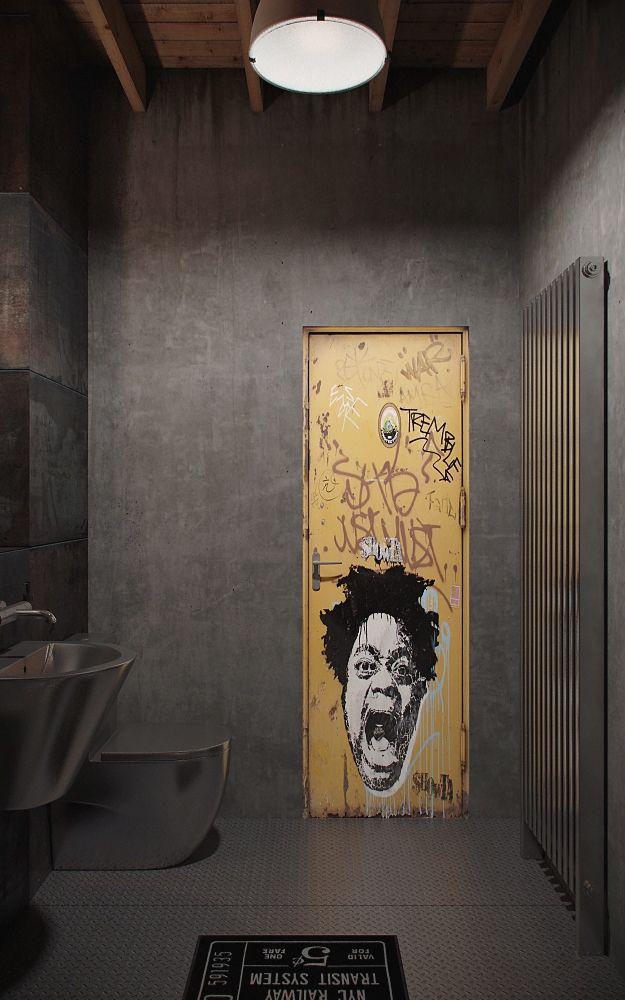 Industrial Influence Abound In Urban Masculine Apartment By Nordes Bathroom DesignIndustrial Interior