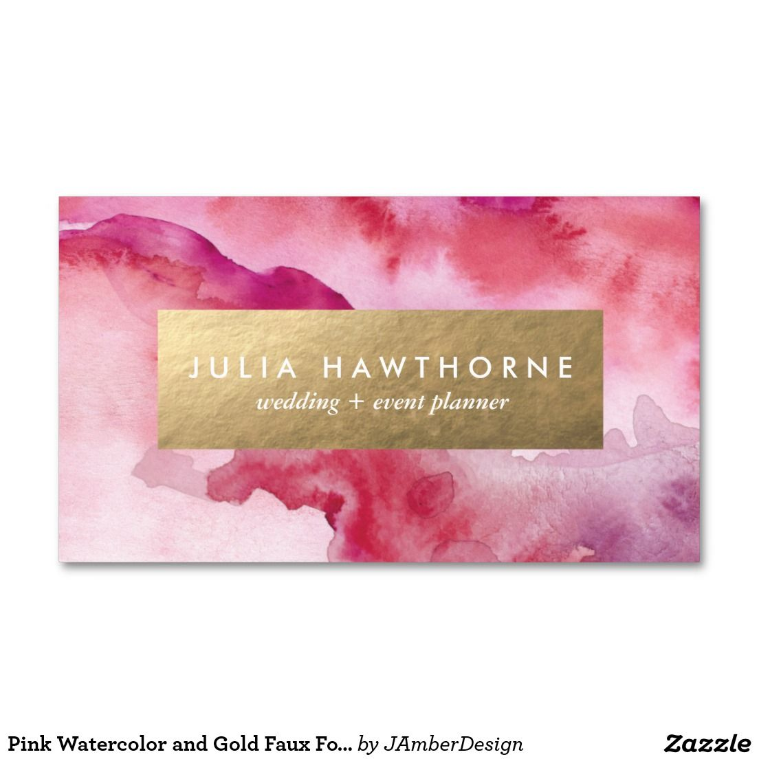 Pink Watercolor And Gold Faux Foil Business Card Gold
