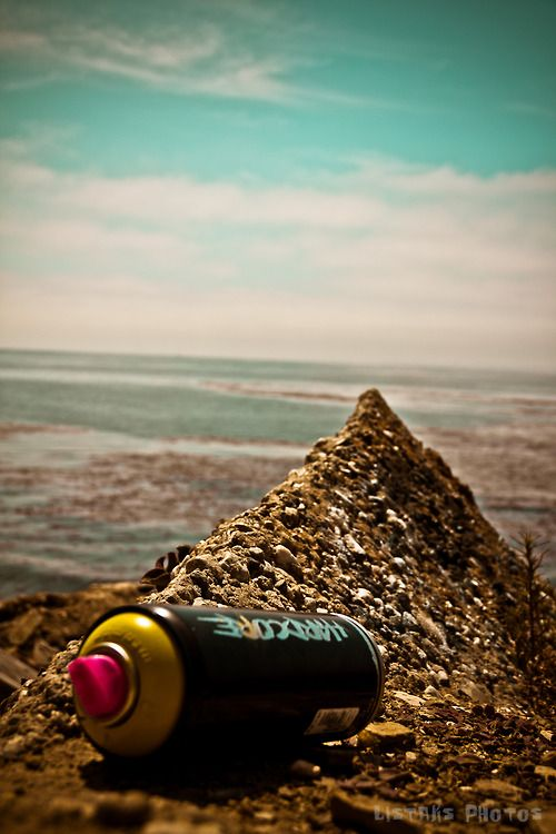 Empty spray can