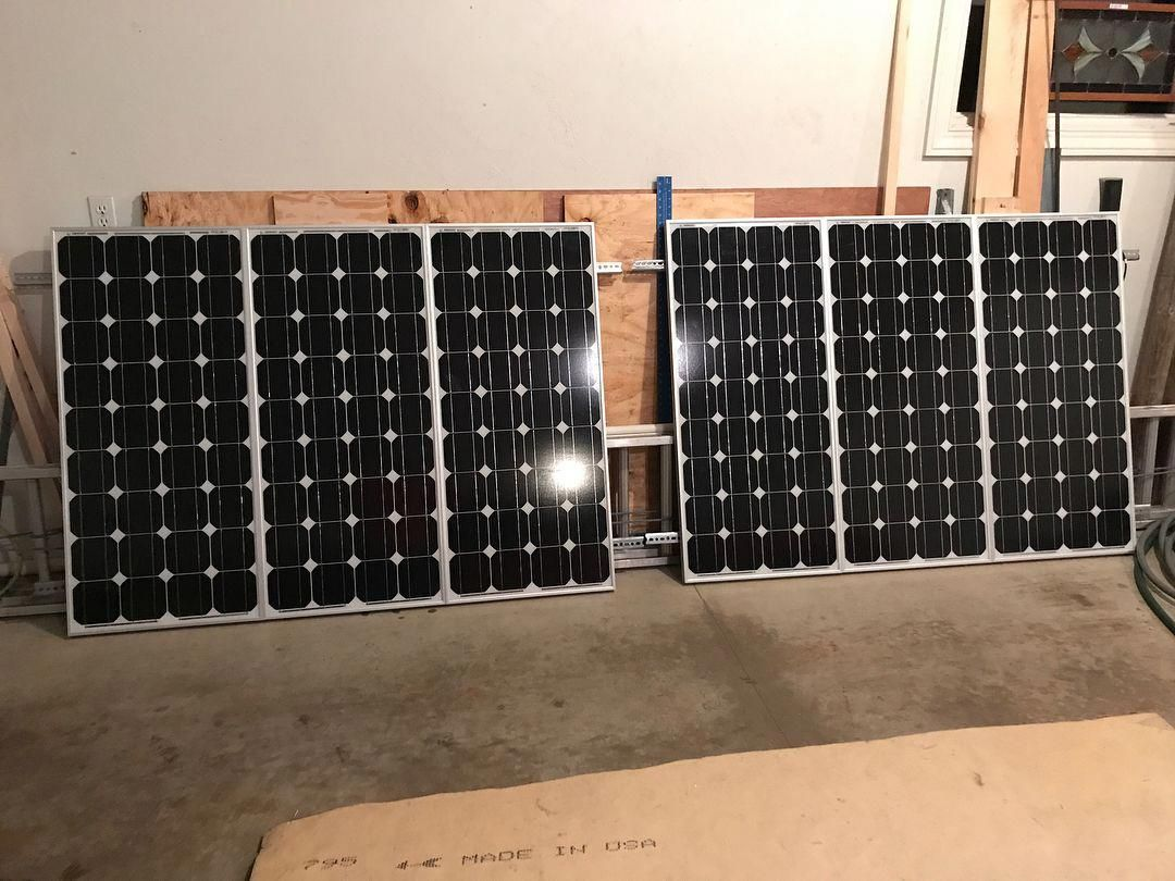 600 Watts Of Solar Soon To Be Installed On The Bus The Three Panels Are Wired In Series And Then The Two Sets Wil Solar Panel Cost Solar Battery Battery Bank