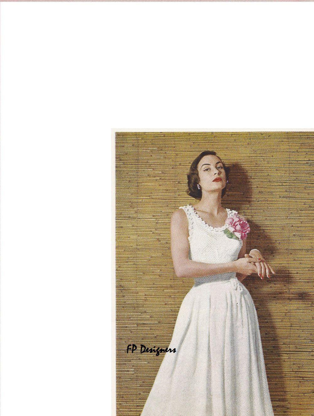 Knitted wedding dress  From s Vintage Knitting Pattern Books u Spinnerin  u
