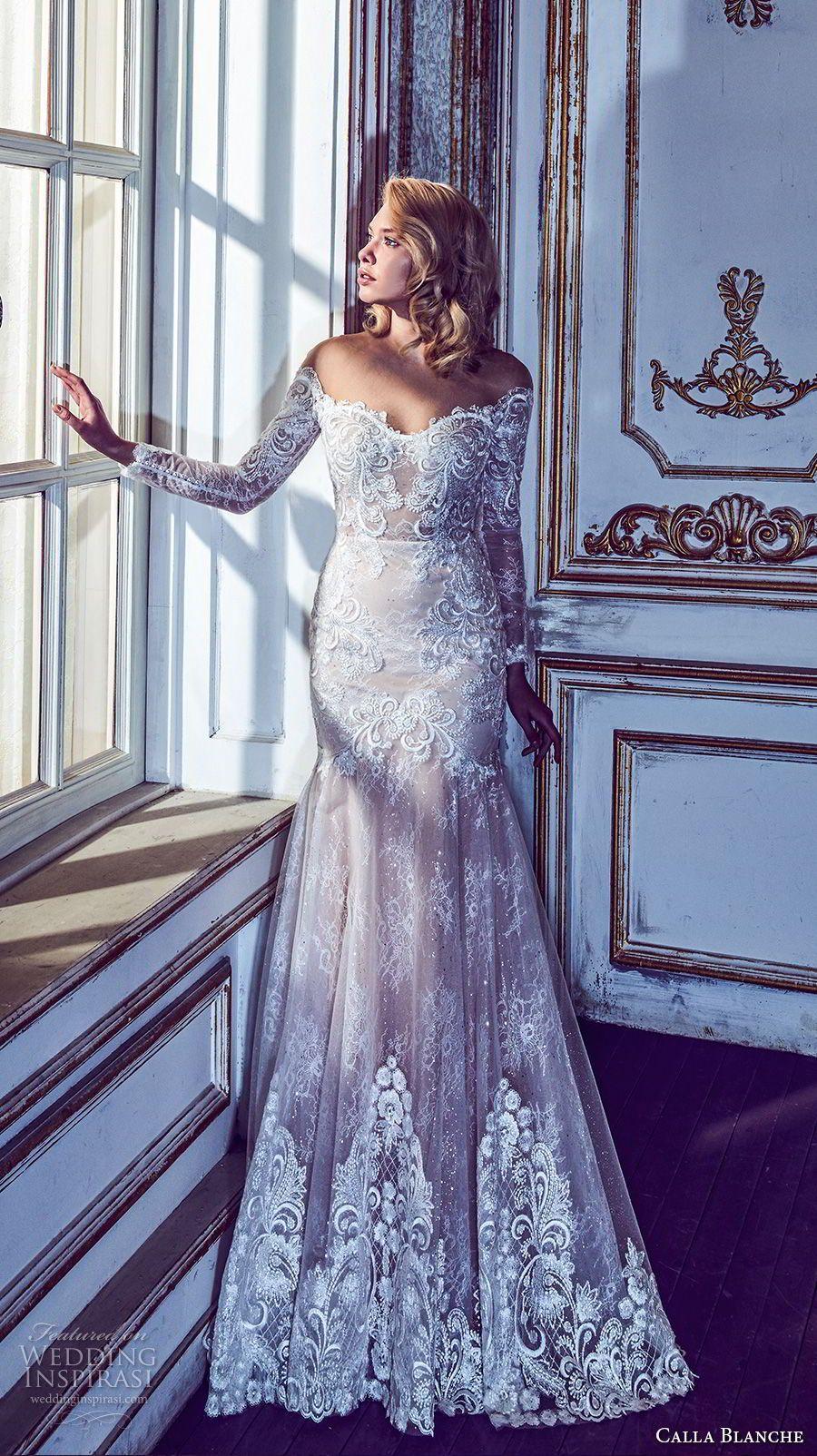 Calla blanche fall wedding dresses chapel train wedding